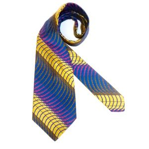 VTG 60s 70s Optical Illusion Stripe WIDE Neck Tie